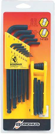 """Kľúč L (.050-3/8"""")+(5/64-1/4"""") INBUS s guličkou 22-dielna sada - Bondhus 14189 BLF22"""